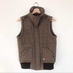 American Eagle Wool Puffy Vest Hereingbone
